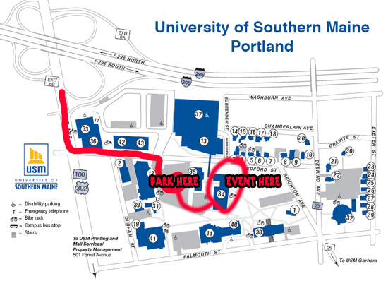 Usm Gorham Campus Map Directions to Talbot Lecture Hall at USM Portland, Maine   For