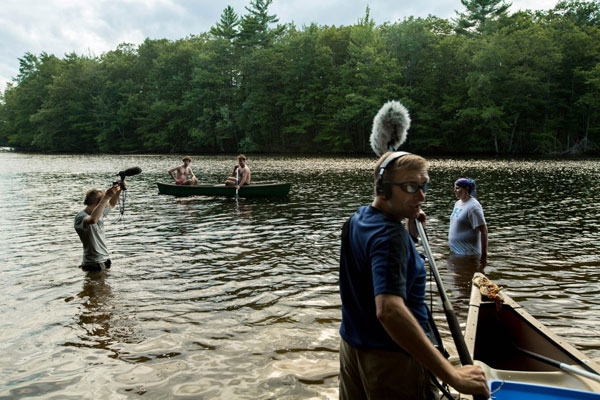 Fred Greenhalgh and Recordist Randall Farr record actors getting thrown into the water.  Photo courtesy David Turner