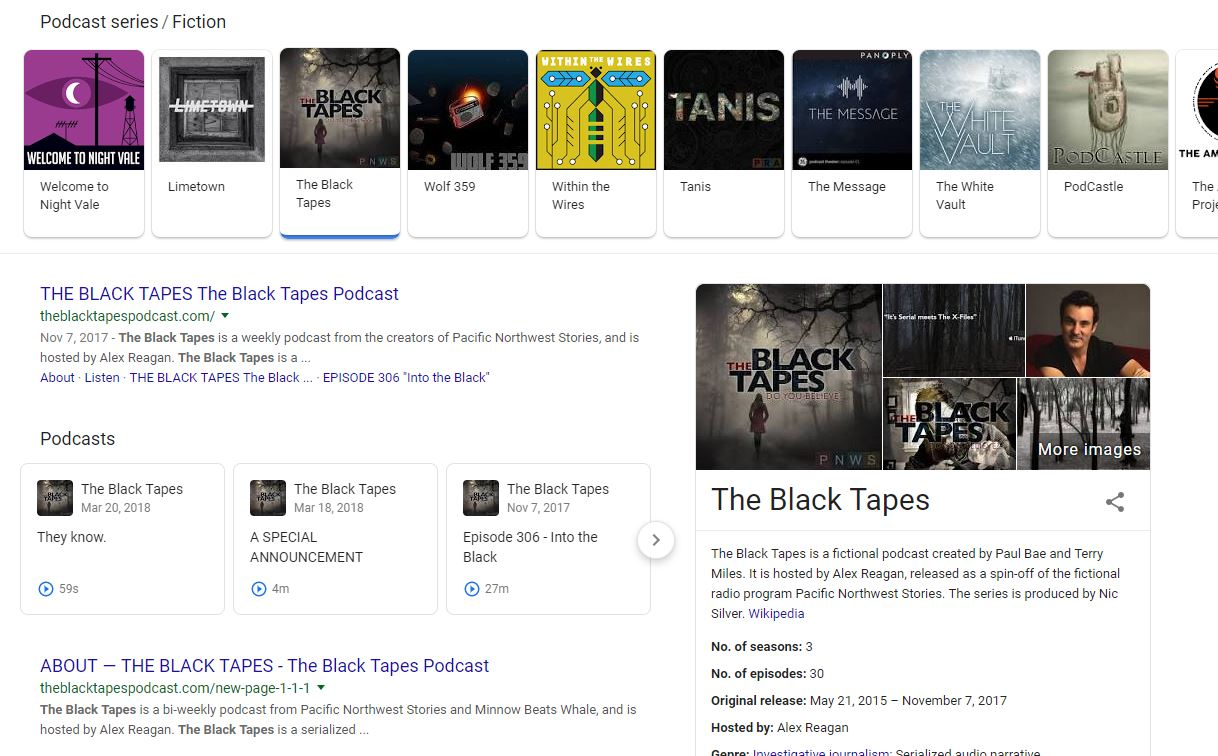 black tapes search result in google fiction podcasts