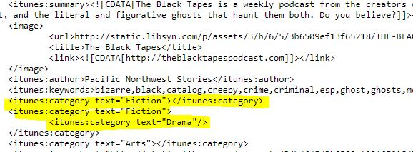 rss feed for black tapes using fiction category in podcast index