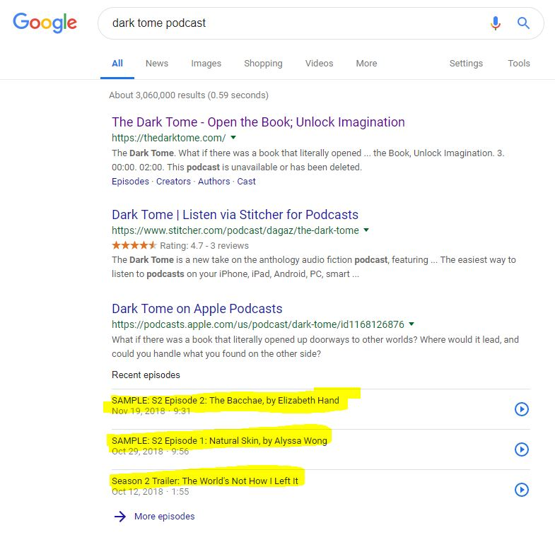 google results when searching 'dark tome' podcast