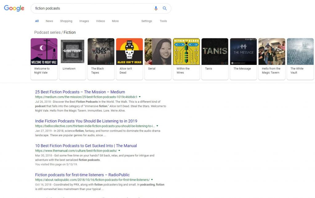 google results for 'fiction podcast'