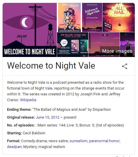 "google information pack ""welcome to nightvale"""