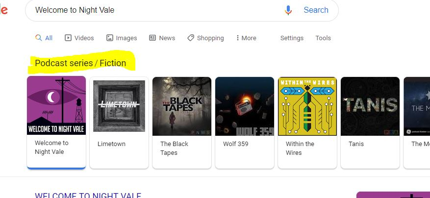 podcast fiction category results in google